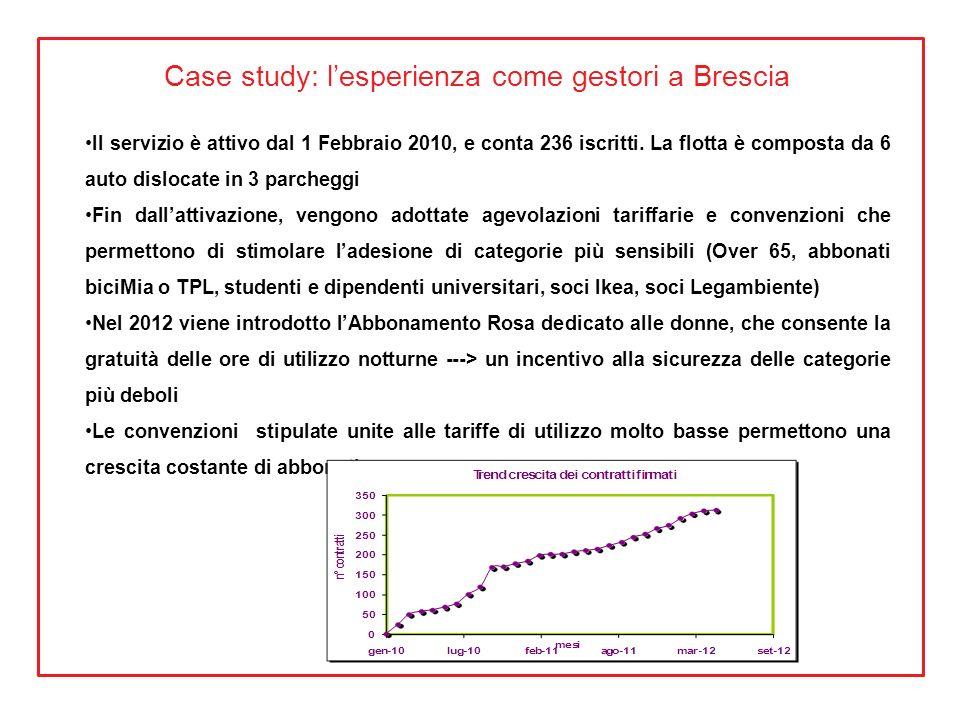 Case study: lesperienza come gestori a Brescia Il servizio è attivo dal 1 Febbraio 2010, e conta 236 iscritti. La flotta è composta da 6 auto dislocat