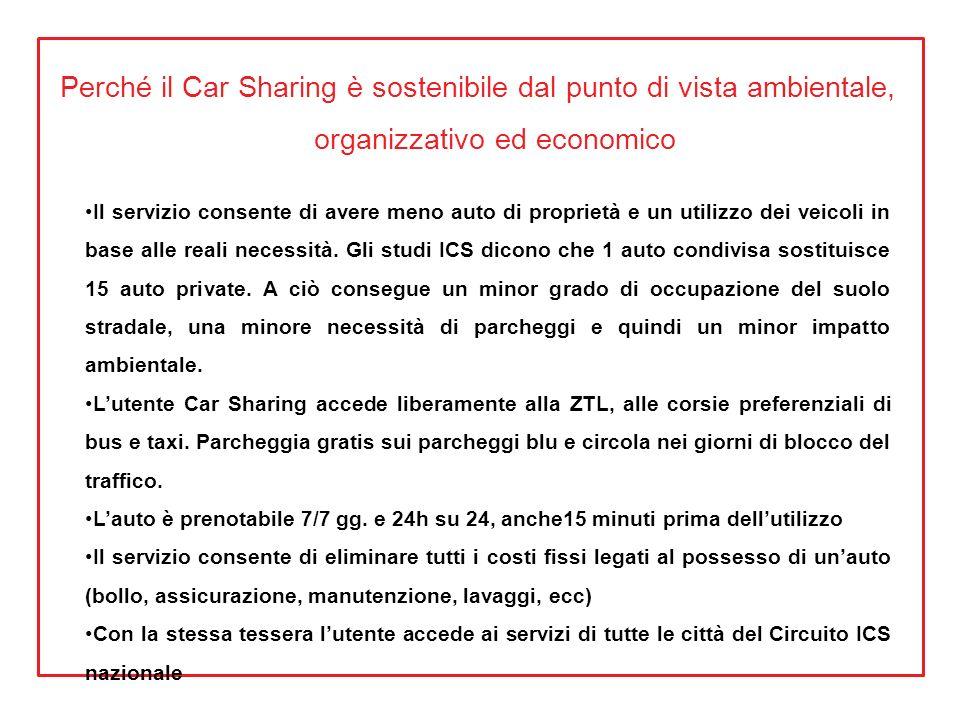 Perché il Car Sharing è sostenibile dal punto di vista ambientale, organizzativo ed economico Il servizio consente di avere meno auto di proprietà e u