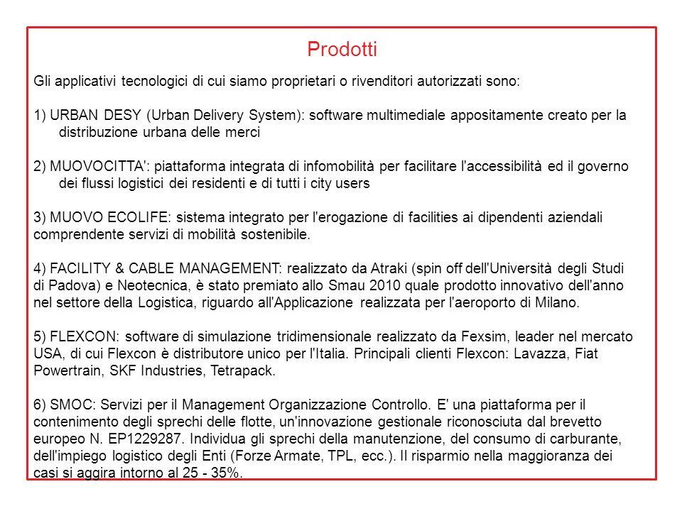Prodotti Gli applicativi tecnologici di cui siamo proprietari o rivenditori autorizzati sono: 1) URBAN DESY (Urban Delivery System): software multimed