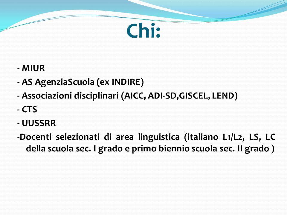Chi: - MIUR - AS AgenziaScuola (ex INDIRE) - Associazioni disciplinari (AICC, ADI-SD,GISCEL, LEND) - CTS - UUSSRR -Docenti selezionati di area linguis