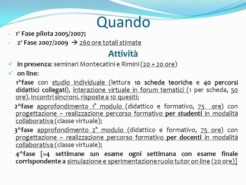 Quando - 1ª Fase pilota 2005/2007; - 2ª Fase 2007/2009 260 ore totali stimate Attività in presenza: seminari Montecatini e Rimini (20 + 20 ore) on lin