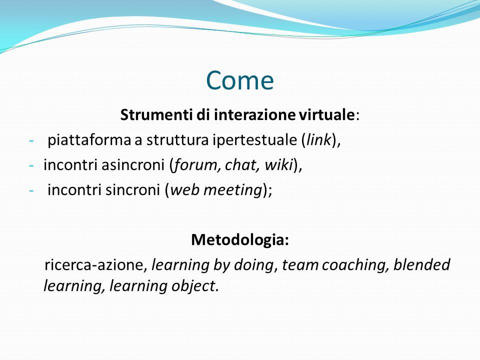 Come Strumenti di interazione virtuale: - piattaforma a struttura ipertestuale (link), - incontri asincroni (forum, chat, wiki), - incontri sincroni (