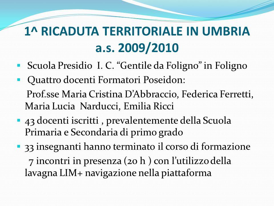 1^ RICADUTA TERRITORIALE IN UMBRIA a.s. 2009/2010 Scuola Presidio I. C. Gentile da Foligno in Foligno Quattro docenti Formatori Poseidon: Prof.sse Mar