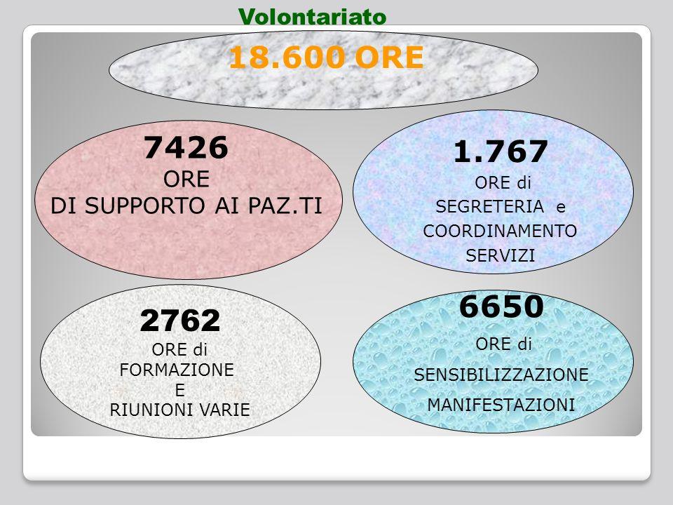 2762 ORE di FORMAZIONE E RIUNIONI VARIE 1.767 ORE di SEGRETERIA e COORDINAMENTO SERVIZI 6650 ORE di SENSIBILIZZAZIONE MANIFESTAZIONI 7426 ORE DI SUPPORTO AI PAZ.TI 18.600 ORE Volontariato