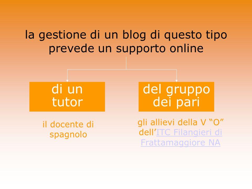 la gestione di un blog di questo tipo prevede un supporto online del gruppo dei pari di un tutor il docente di spagnolo gli allievi della V O dellITC