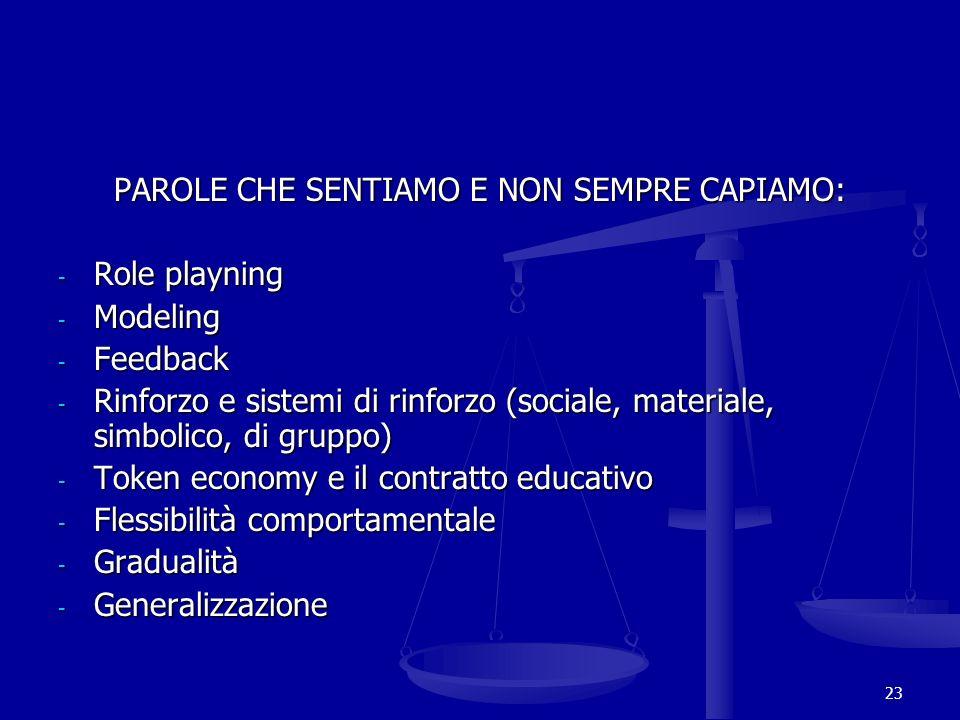 PAROLE CHE SENTIAMO E NON SEMPRE CAPIAMO: - Role playning - Modeling - Feedback - Rinforzo e sistemi di rinforzo (sociale, materiale, simbolico, di gr