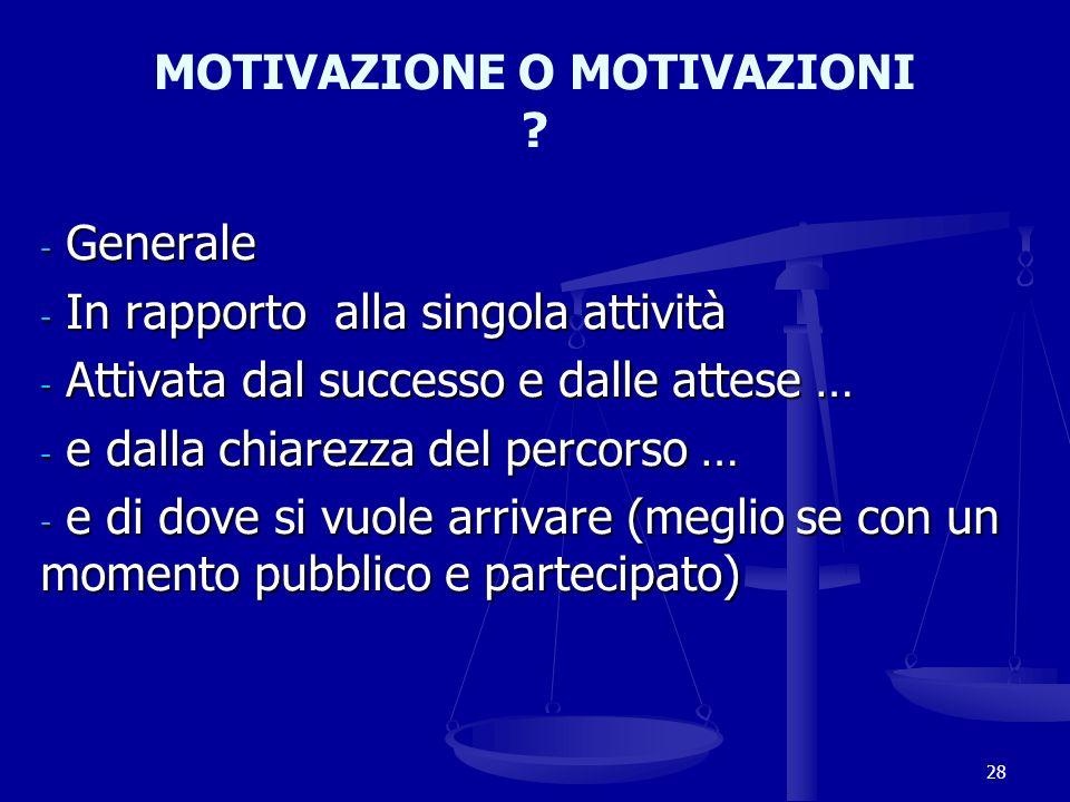 MOTIVAZIONE O MOTIVAZIONI ? - Generale - In rapporto alla singola attività - Attivata dal successo e dalle attese … - e dalla chiarezza del percorso …