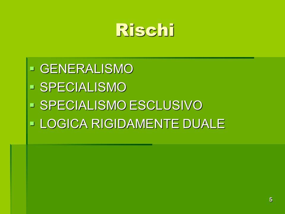 Rischi GENERALISMO GENERALISMO SPECIALISMO SPECIALISMO SPECIALISMO ESCLUSIVO SPECIALISMO ESCLUSIVO LOGICA RIGIDAMENTE DUALE LOGICA RIGIDAMENTE DUALE 5