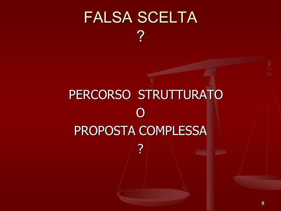FALSA SCELTA ? PERCORSO STRUTTURATO O PROPOSTA COMPLESSA ? 8