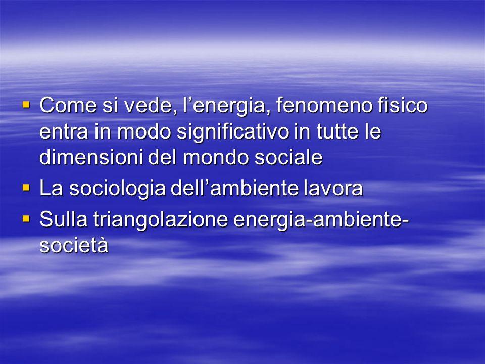 Come si vede, lenergia, fenomeno fisico entra in modo significativo in tutte le dimensioni del mondo sociale Come si vede, lenergia, fenomeno fisico entra in modo significativo in tutte le dimensioni del mondo sociale La sociologia dellambiente lavora La sociologia dellambiente lavora Sulla triangolazione energia-ambiente- società Sulla triangolazione energia-ambiente- società