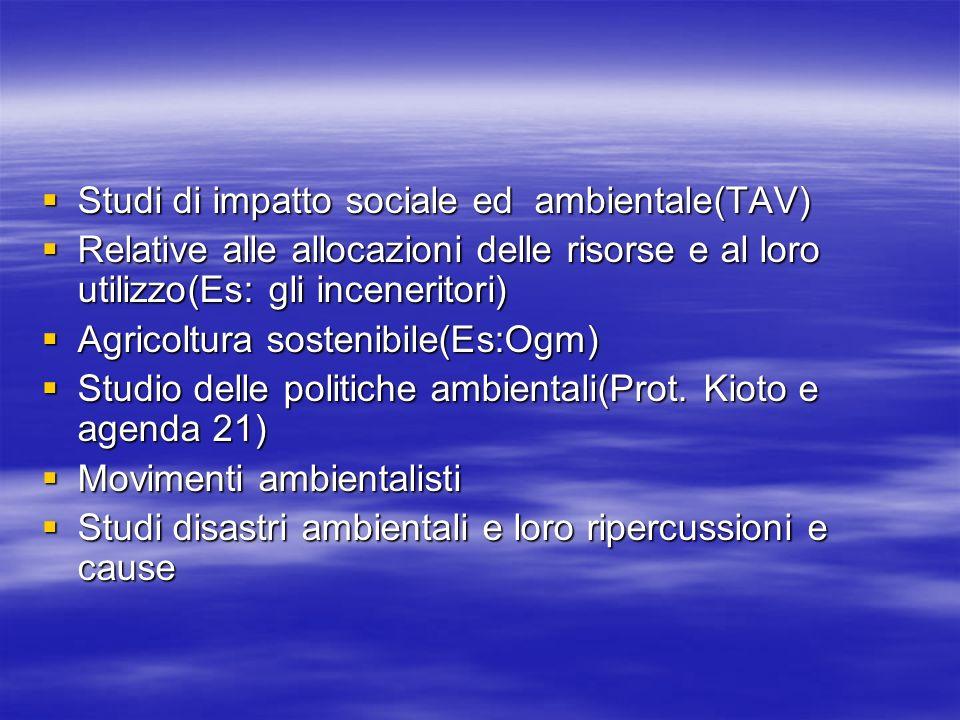 Studi di impatto sociale ed ambientale(TAV) Studi di impatto sociale ed ambientale(TAV) Relative alle allocazioni delle risorse e al loro utilizzo(Es: gli inceneritori) Relative alle allocazioni delle risorse e al loro utilizzo(Es: gli inceneritori) Agricoltura sostenibile(Es:Ogm) Agricoltura sostenibile(Es:Ogm) Studio delle politiche ambientali(Prot.
