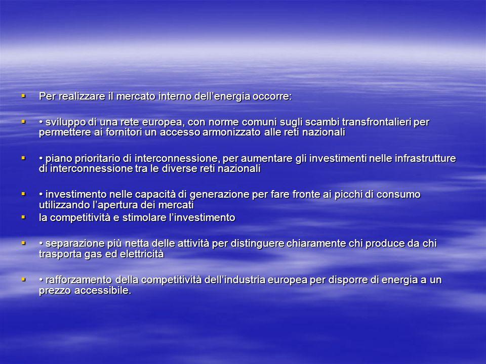 Per realizzare il mercato interno dellenergia occorre: Per realizzare il mercato interno dellenergia occorre: sviluppo di una rete europea, con norme comuni sugli scambi transfrontalieri per permettere ai fornitori un accesso armonizzato alle reti nazionali sviluppo di una rete europea, con norme comuni sugli scambi transfrontalieri per permettere ai fornitori un accesso armonizzato alle reti nazionali piano prioritario di interconnessione, per aumentare gli investimenti nelle infrastrutture di interconnessione tra le diverse reti nazionali piano prioritario di interconnessione, per aumentare gli investimenti nelle infrastrutture di interconnessione tra le diverse reti nazionali investimento nelle capacità di generazione per fare fronte ai picchi di consumo utilizzando lapertura dei mercati investimento nelle capacità di generazione per fare fronte ai picchi di consumo utilizzando lapertura dei mercati la competitività e stimolare linvestimento la competitività e stimolare linvestimento separazione più netta delle attività per distinguere chiaramente chi produce da chi trasporta gas ed elettricità separazione più netta delle attività per distinguere chiaramente chi produce da chi trasporta gas ed elettricità rafforzamento della competitività dellindustria europea per disporre di energia a un prezzo accessibile.