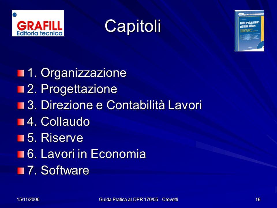 15/11/2006 Guida Pratica al DPR 170/05 - Crovetti 18 Capitoli 1. Organizzazione 2. Progettazione 3. Direzione e Contabilità Lavori 4. Collaudo 5. Rise