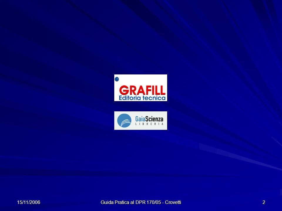 15/11/2006 Guida Pratica al DPR 170/05 - Crovetti 2
