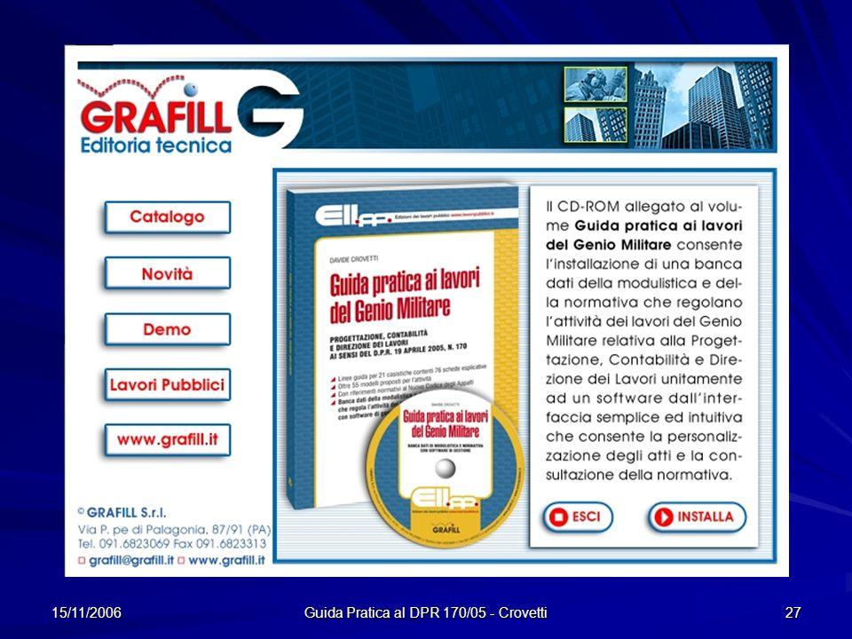 15/11/2006 Guida Pratica al DPR 170/05 - Crovetti 27 CD ROM