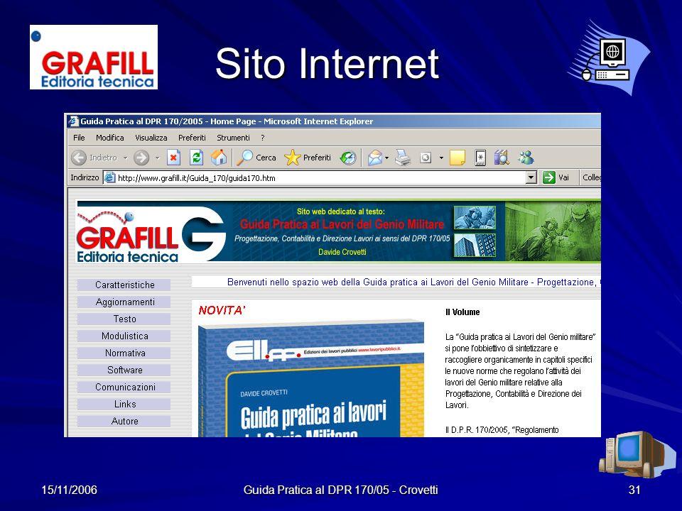 15/11/2006 Guida Pratica al DPR 170/05 - Crovetti 31 Sito Internet