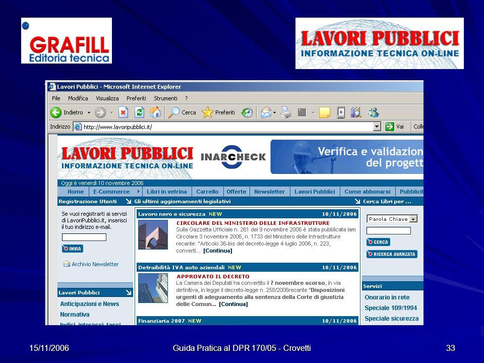 15/11/2006 Guida Pratica al DPR 170/05 - Crovetti 33