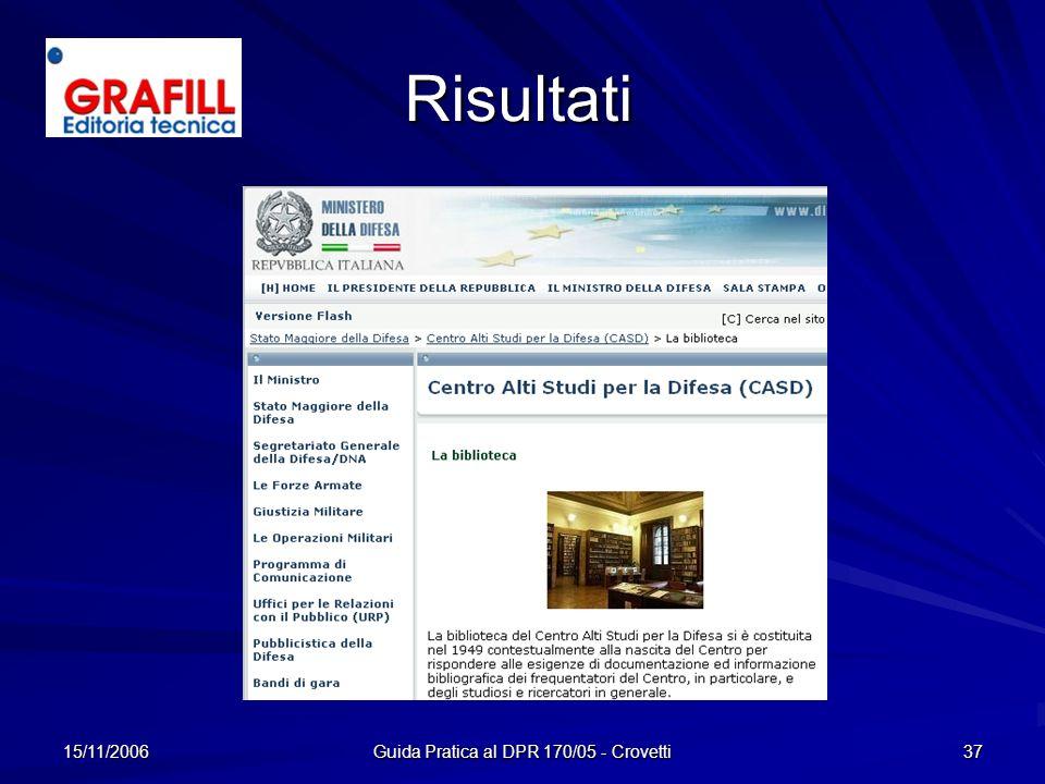 15/11/2006 Guida Pratica al DPR 170/05 - Crovetti 37 Risultati
