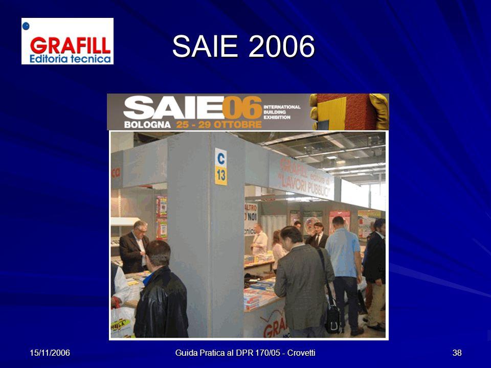 15/11/2006 Guida Pratica al DPR 170/05 - Crovetti 38 SAIE 2006