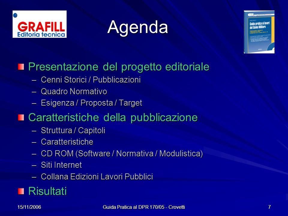 15/11/2006 Guida Pratica al DPR 170/05 - Crovetti 7 Agenda Presentazione del progetto editoriale –C–C–C–Cenni Storici / Pubblicazioni –Q–Q–Q–Quadro No