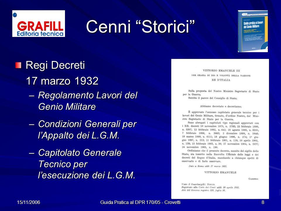 15/11/2006 Guida Pratica al DPR 170/05 - Crovetti 8 Cenni Storici Regi Decreti 17 marzo 1932 –R–R–R–Regolamento Lavori del Genio Militare –C–C–C–Condi