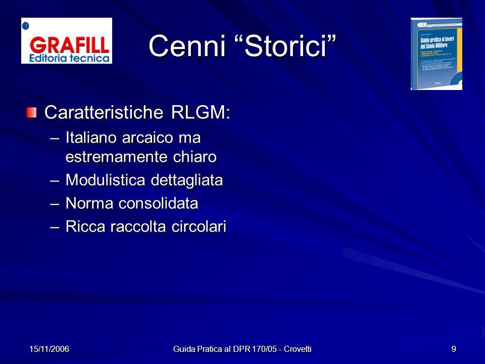 15/11/2006 Guida Pratica al DPR 170/05 - Crovetti 9 Cenni Storici Caratteristiche RLGM: –I–I–I–Italiano arcaico ma estremamente chiaro –M–M–M–Modulist