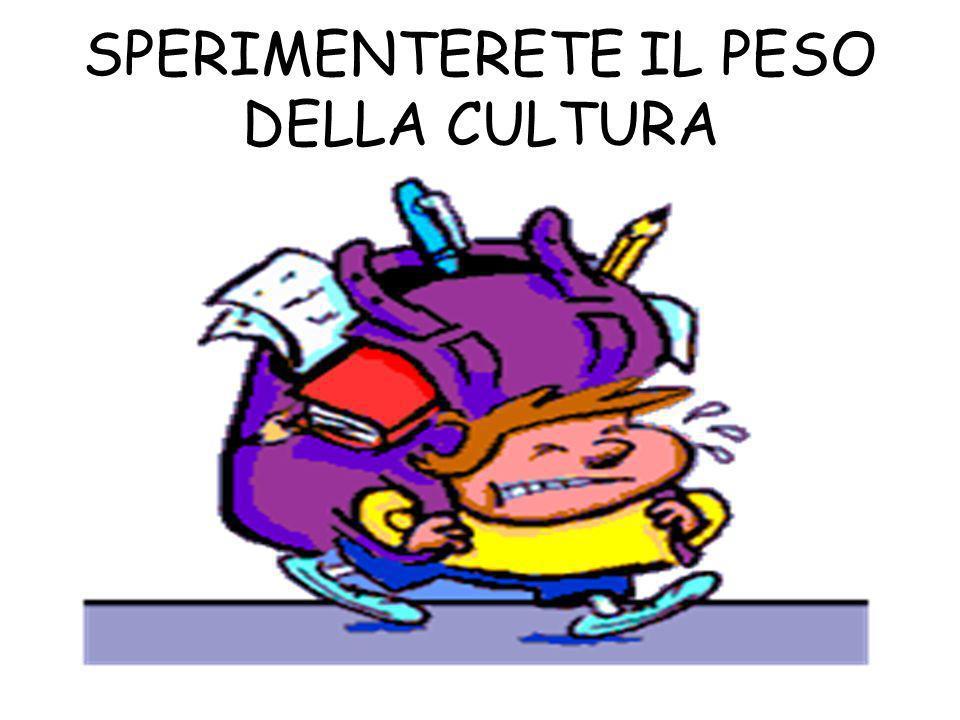 SPERIMENTERETE IL PESO DELLA CULTURA