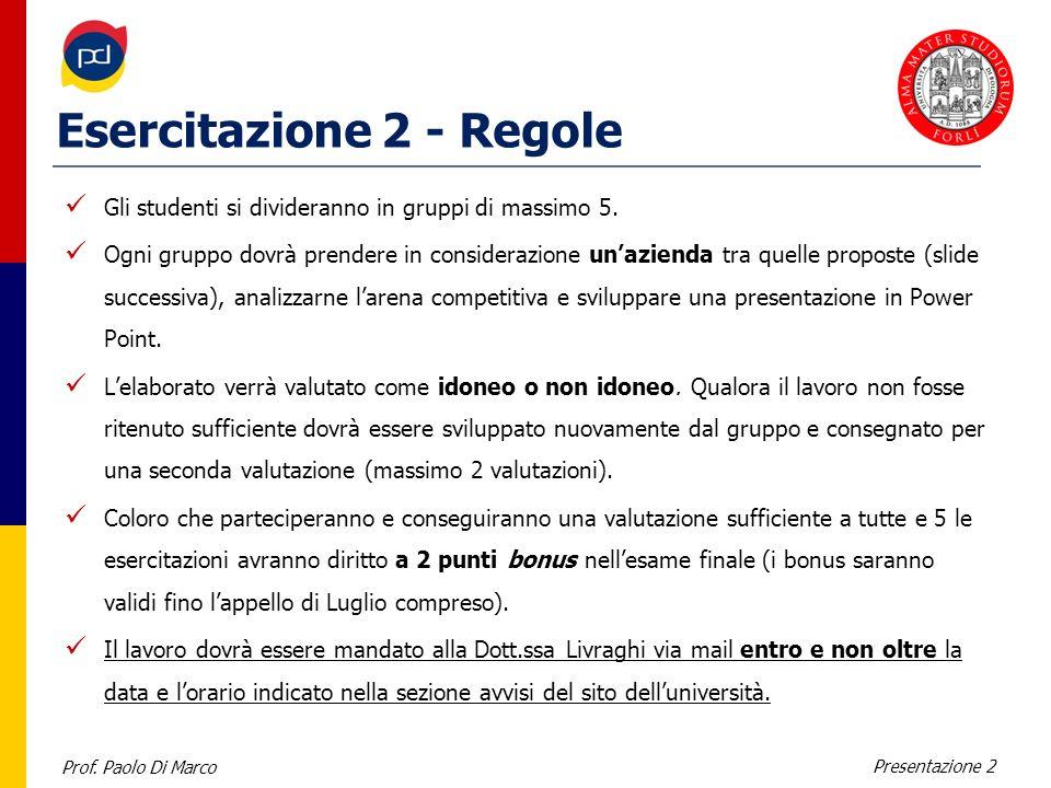 Prof. Paolo Di Marco Presentazione 2 Esercitazione 2 - Regole Gli studenti si divideranno in gruppi di massimo 5. Ogni gruppo dovrà prendere in consid