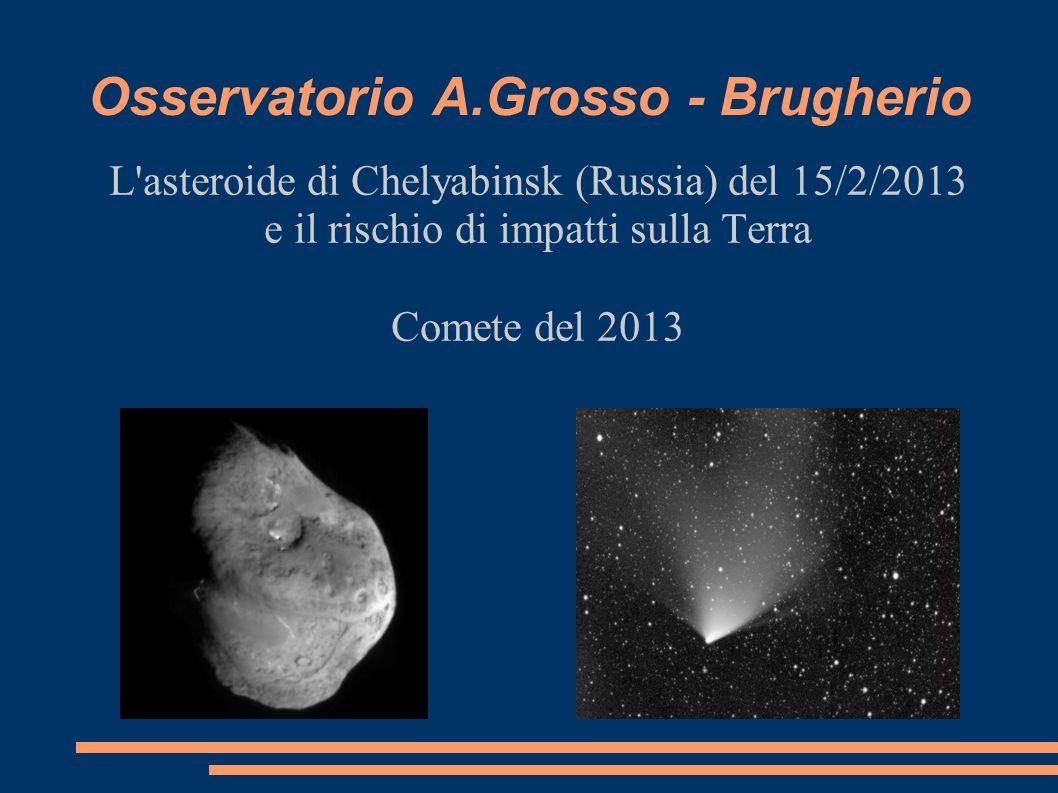 Osservatorio A.Grosso - Brugherio L'asteroide di Chelyabinsk (Russia) del 15/2/2013 e il rischio di impatti sulla Terra Comete del 2013