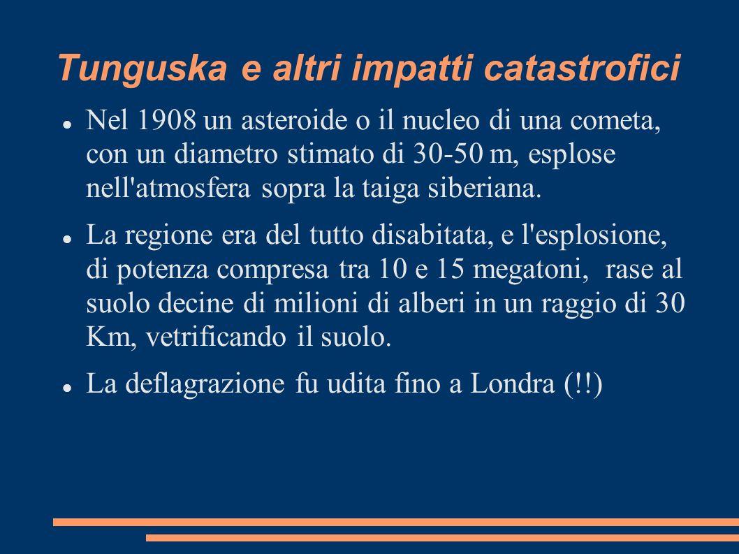 Tunguska e altri impatti catastrofici Nel 1908 un asteroide o il nucleo di una cometa, con un diametro stimato di 30-50 m, esplose nell'atmosfera sopr