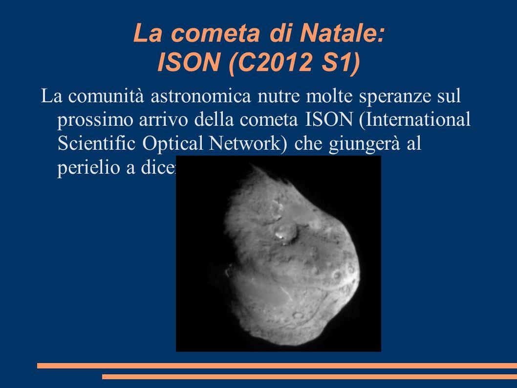 La cometa di Natale: ISON (C2012 S1) La comunità astronomica nutre molte speranze sul prossimo arrivo della cometa ISON (International Scientific Opti