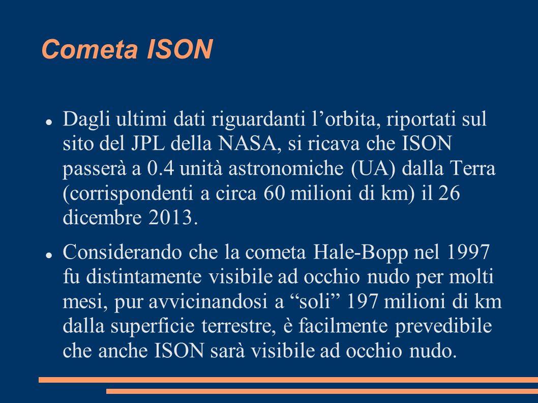 Cometa ISON Dagli ultimi dati riguardanti lorbita, riportati sul sito del JPL della NASA, si ricava che ISON passerà a 0.4 unità astronomiche (UA) dal