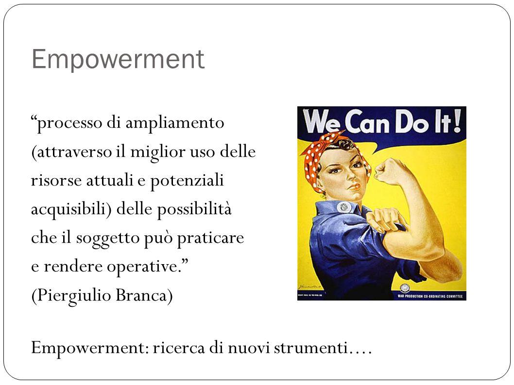 Empowerment processo di ampliamento (attraverso il miglior uso delle risorse attuali e potenziali acquisibili) delle possibilità che il soggetto può p