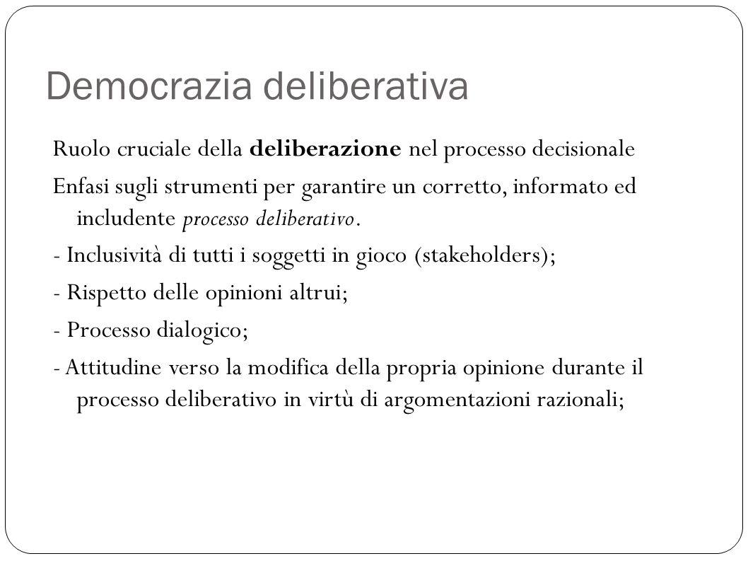 Democrazia deliberativa Ruolo cruciale della deliberazione nel processo decisionale Enfasi sugli strumenti per garantire un corretto, informato ed inc