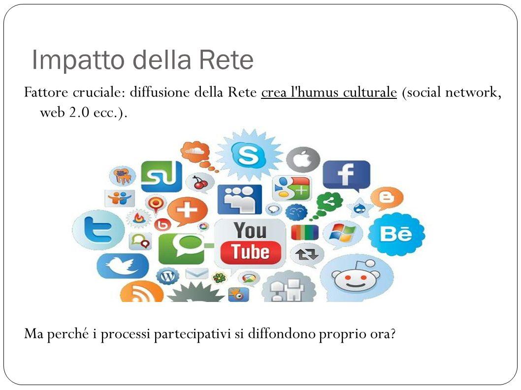 Impatto della Rete Fattore cruciale: diffusione della Rete crea l'humus culturale (social network, web 2.0 ecc.). Ma perché i processi partecipativi s