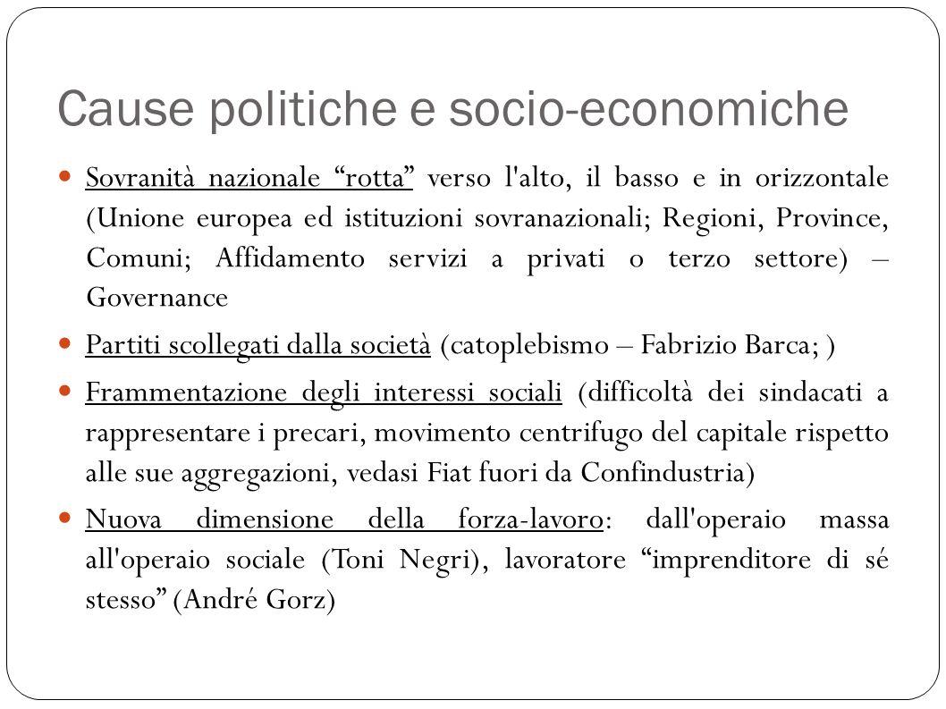 Cause politiche e socio-economiche Sovranità nazionale rotta verso l'alto, il basso e in orizzontale (Unione europea ed istituzioni sovranazionali; Re