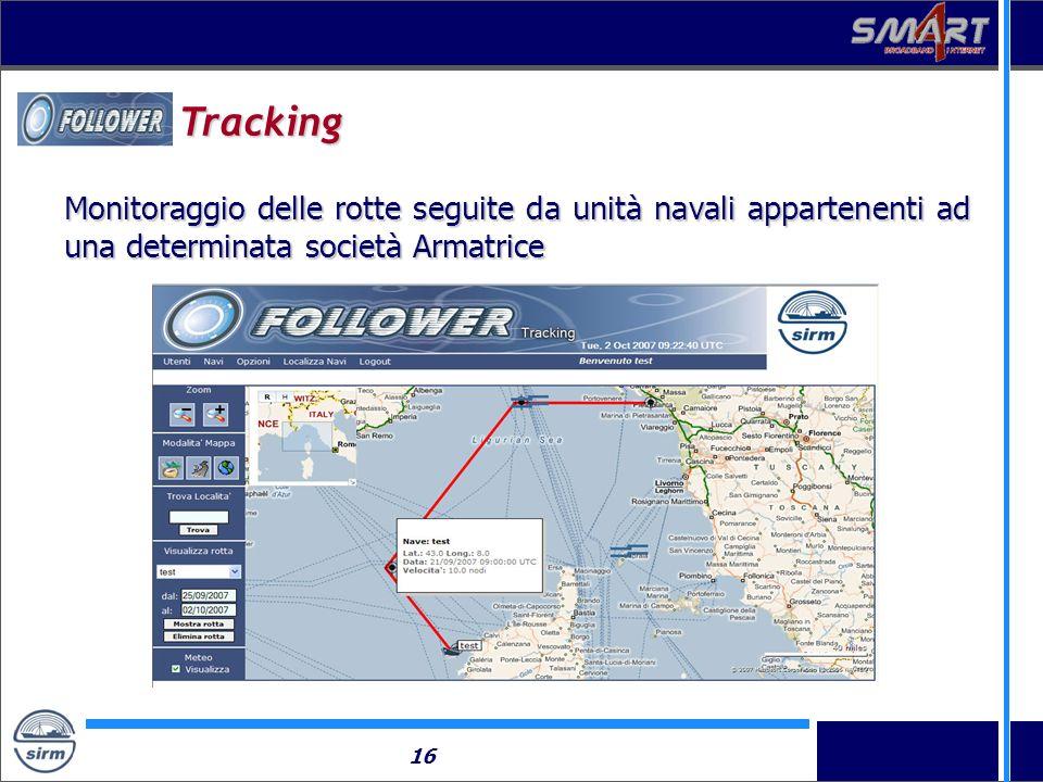 16 Tracking Monitoraggio delle rotte seguite da unità navali appartenenti ad una determinata società Armatrice