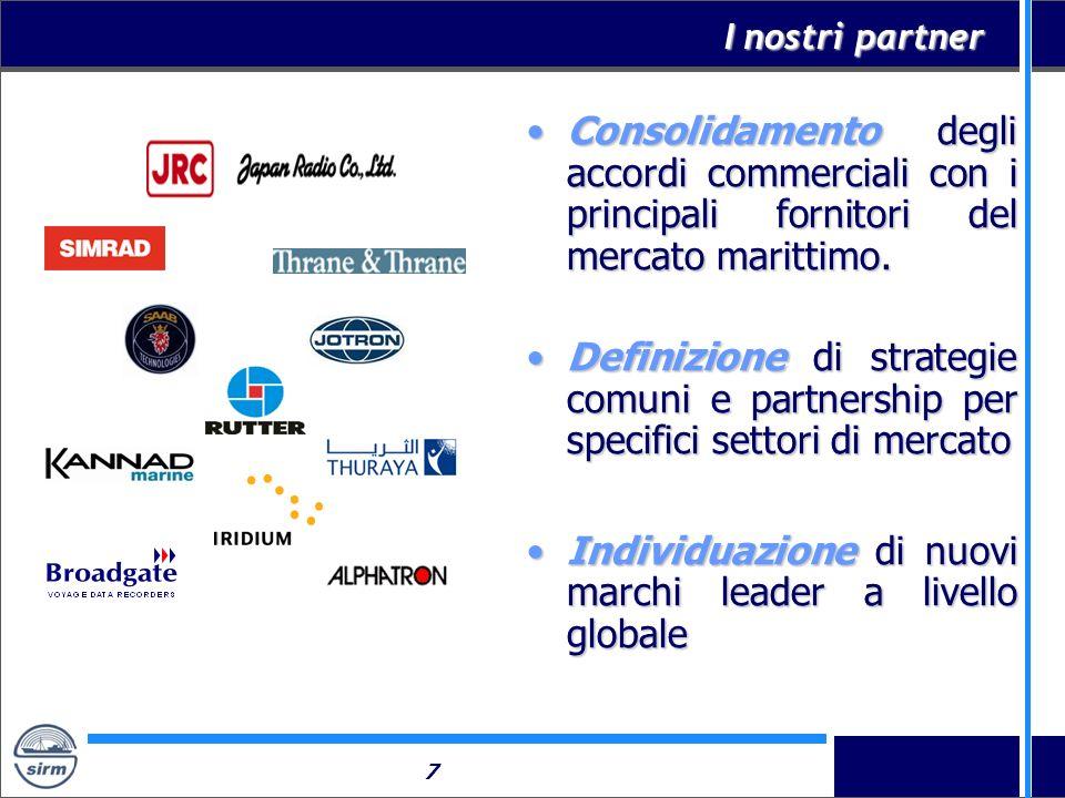 7 I nostri partner Consolidamento degli accordi commerciali con i principali fornitori del mercato marittimo.Consolidamento degli accordi commerciali