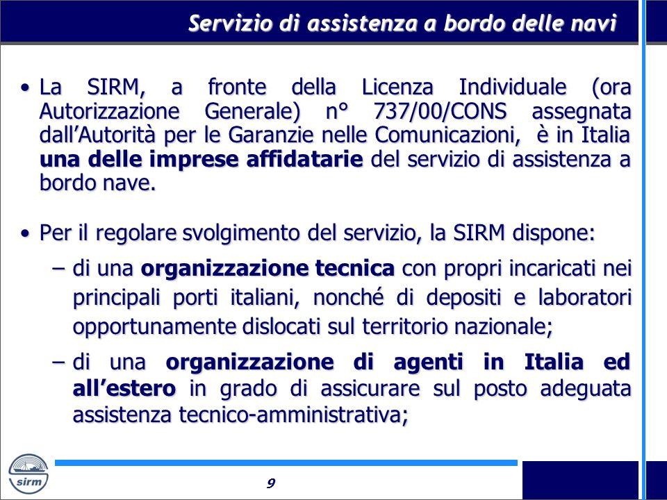 9 Servizio di assistenza a bordo delle navi La SIRM, a fronte della Licenza Individuale (ora Autorizzazione Generale) n° 737/00/CONS assegnata dallAut