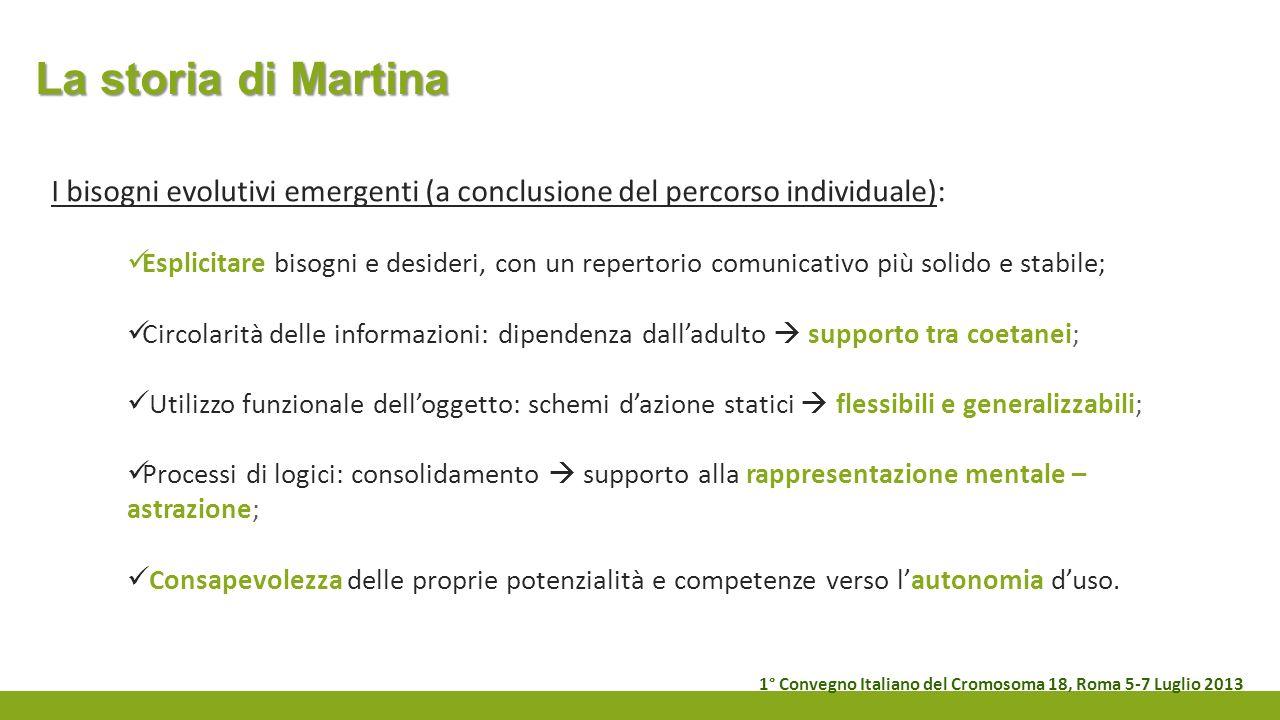 La storia di Martina I bisogni evolutivi emergenti (a conclusione del percorso individuale): Esplicitare bisogni e desideri, con un repertorio comunic