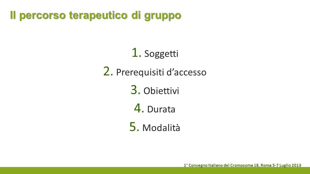 Il percorso terapeutico di gruppo 1. Soggetti 2. Prerequisiti daccesso 3. Obiettivi 4. Durata 5. Modalità 1° Convegno Italiano del Cromosoma 18, Roma