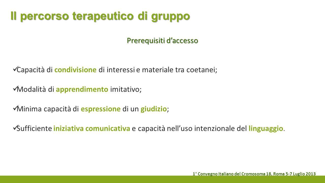 Il percorso terapeutico di gruppo Prerequisiti daccesso Capacità di condivisione di interessi e materiale tra coetanei; Modalità di apprendimento imit