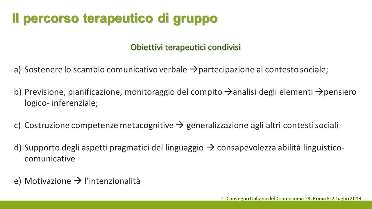 Il percorso terapeutico di gruppo Obiettivi terapeutici condivisi a)Sostenere lo scambio comunicativo verbale partecipazione al contesto sociale; b)Pr