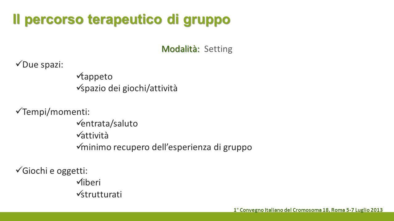 Il percorso terapeutico di gruppo Modalità: Modalità: Setting Due spazi: tappeto spazio dei giochi/attività Tempi/momenti: entrata/saluto attività min