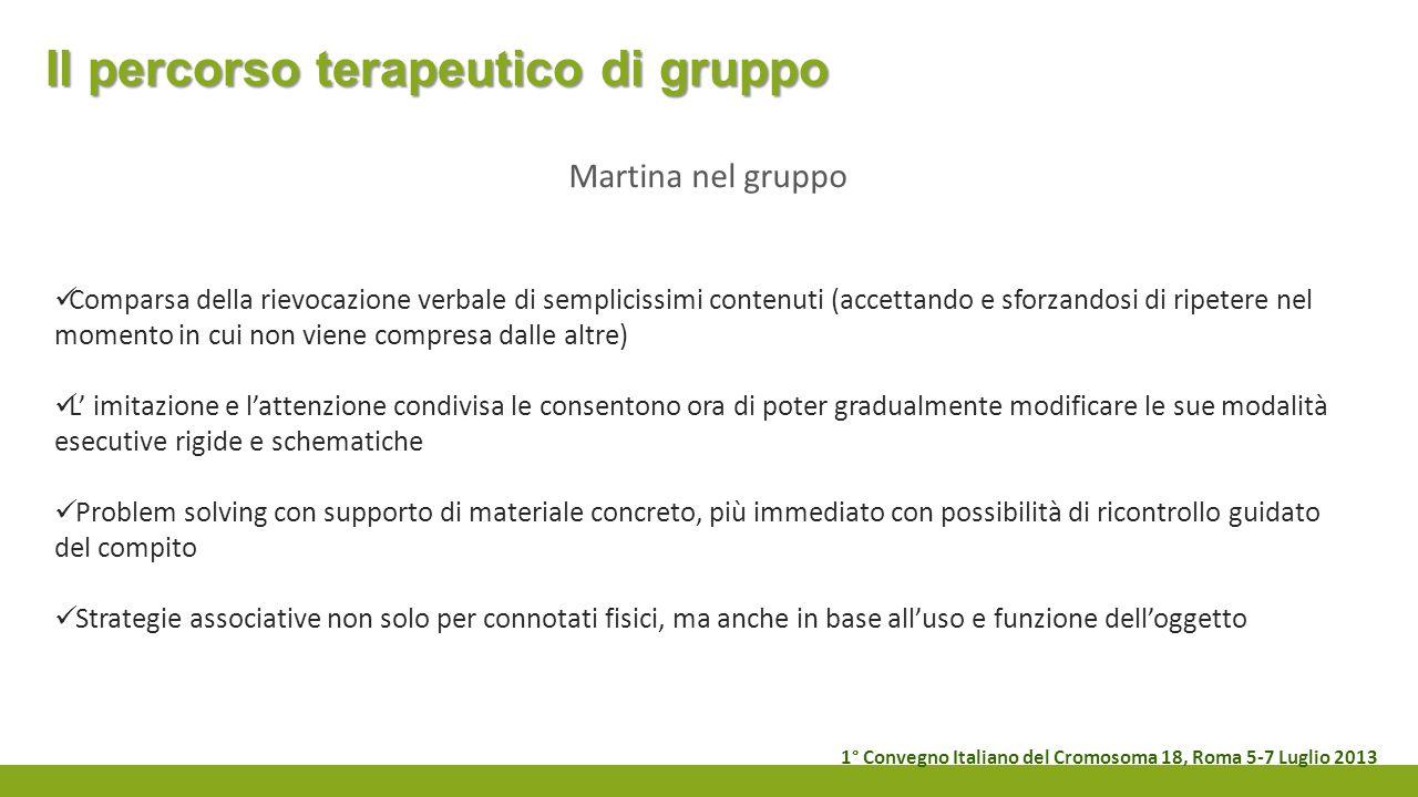 Il percorso terapeutico di gruppo Martina nel gruppo Comparsa della rievocazione verbale di semplicissimi contenuti (accettando e sforzandosi di ripet