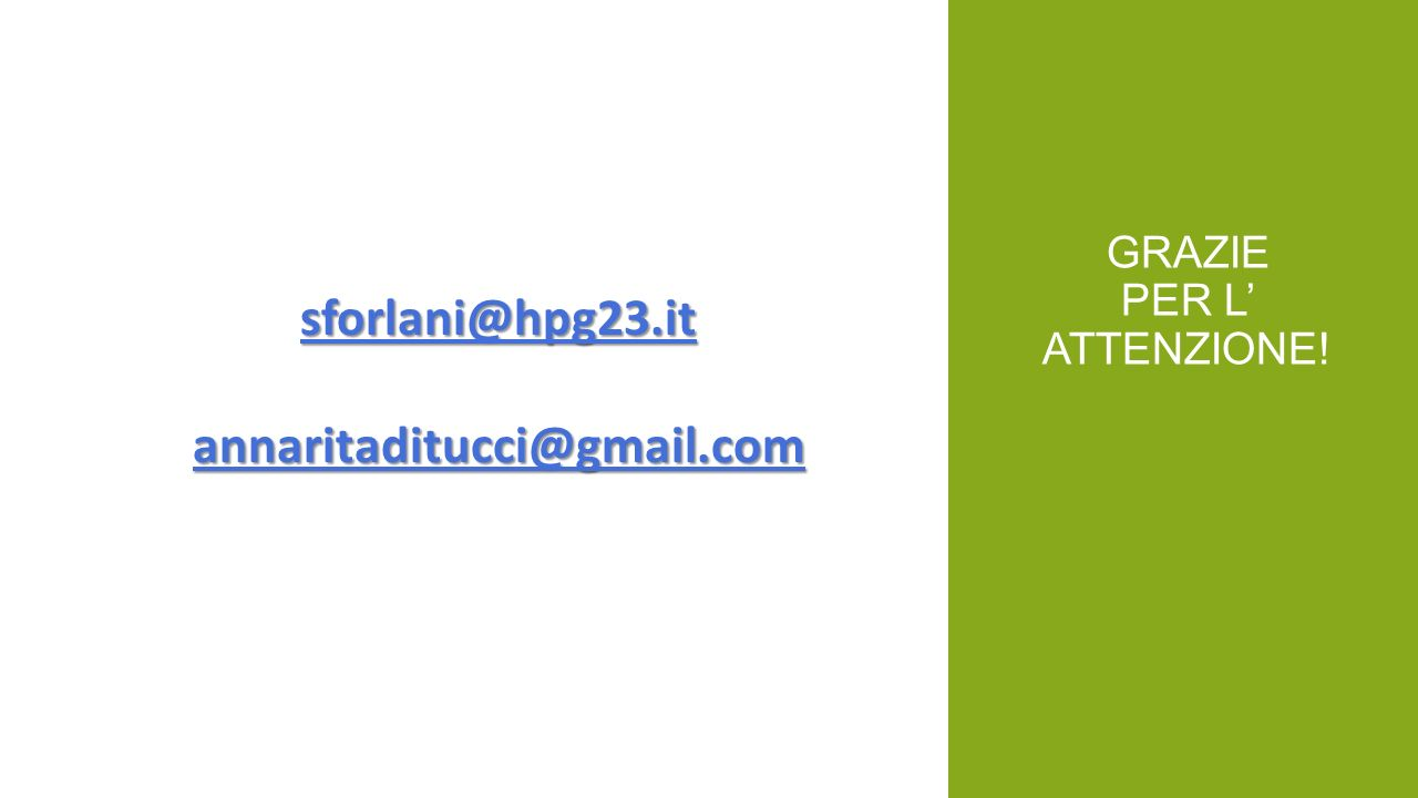 GRAZIE PER L ATTENZIONE! sforlani@hpg23.it annaritaditucci@gmail.com