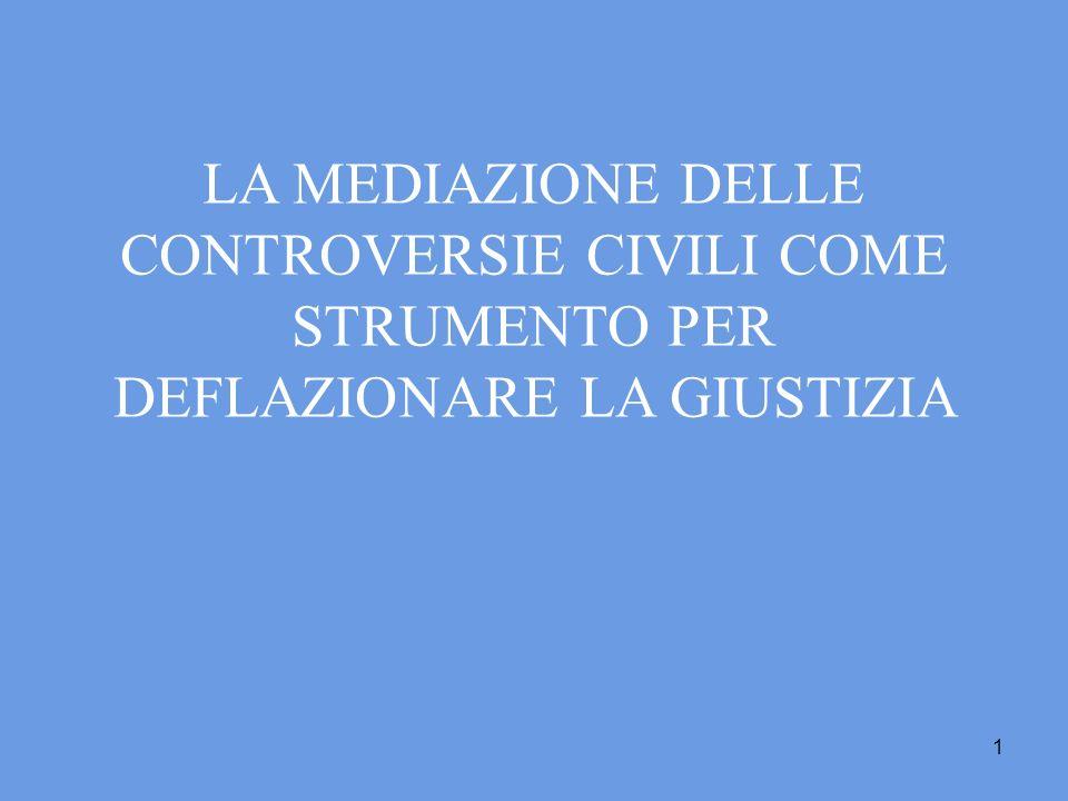 1 LA MEDIAZIONE DELLE CONTROVERSIE CIVILI COME STRUMENTO PER DEFLAZIONARE LA GIUSTIZIA