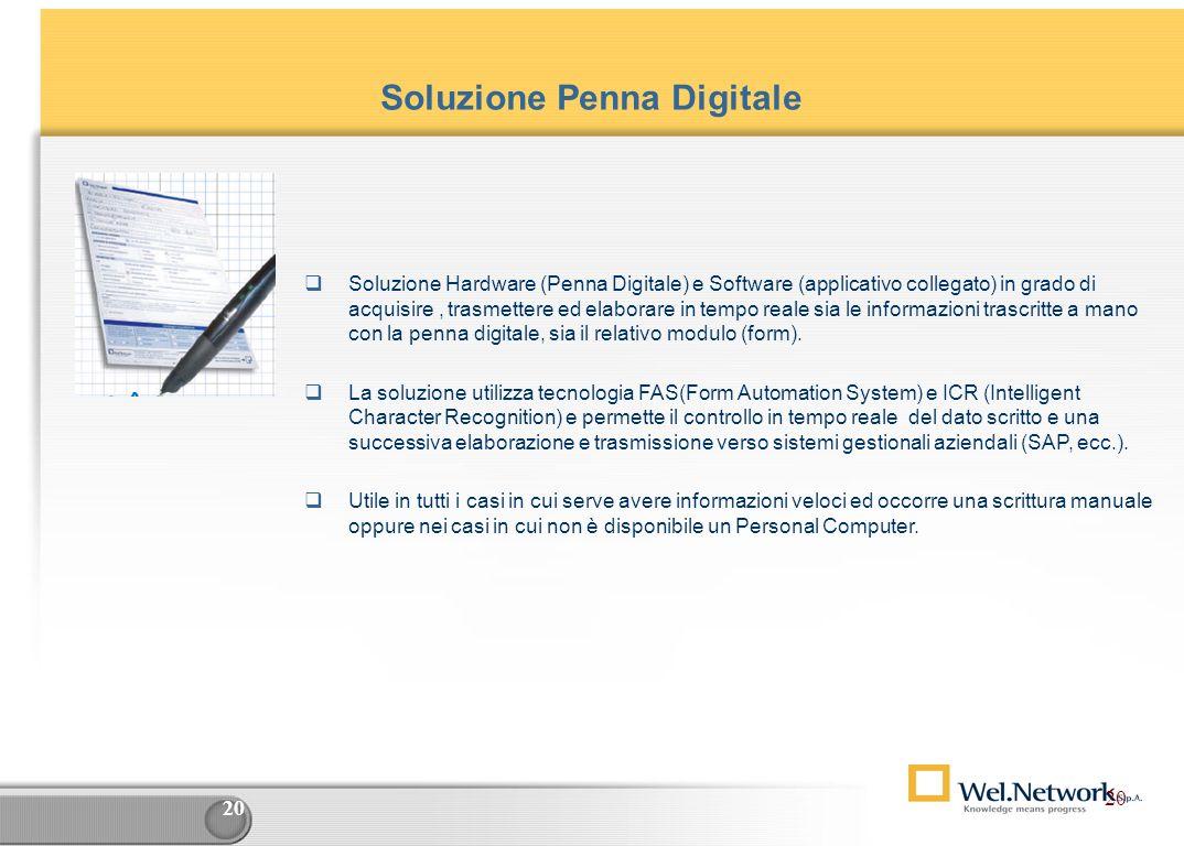 19 Le soluzioni e i Prodotti Commercializzazione prodotti di Terze Parti Business Intelligence e System Integration Business Objects Cognos Ascential