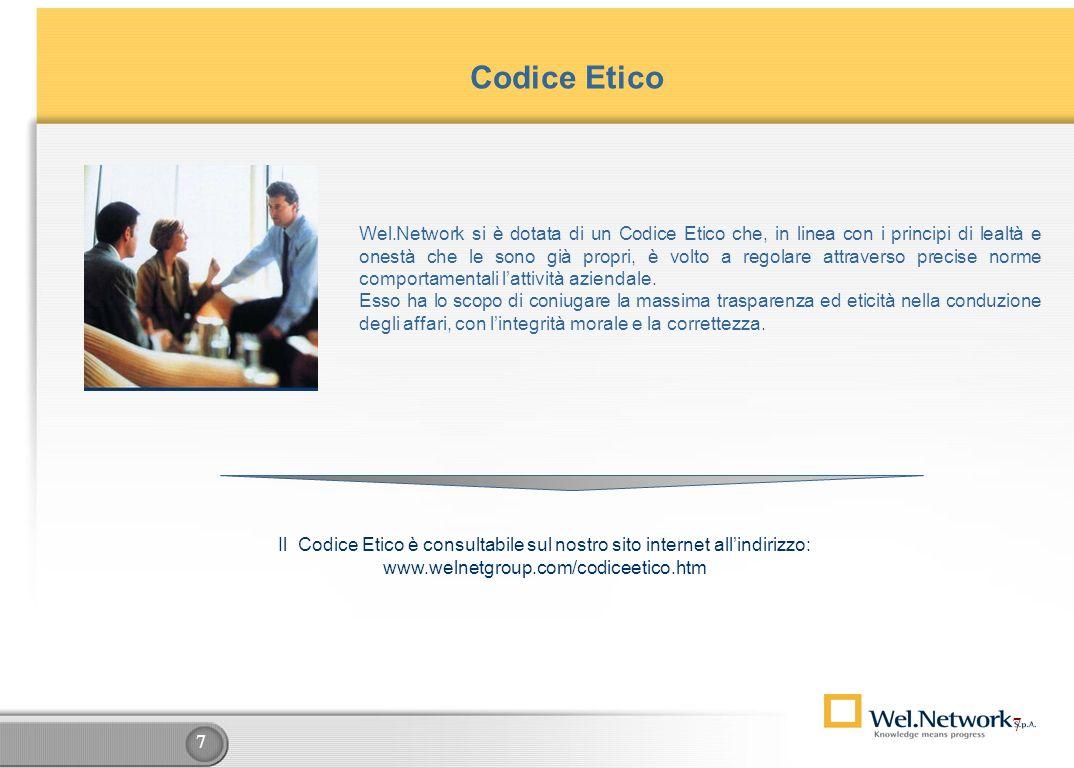 7 7 Codice Etico Wel.Network si è dotata di un Codice Etico che, in linea con i principi di lealtà e onestà che le sono già propri, è volto a regolare attraverso precise norme comportamentali lattività aziendale.