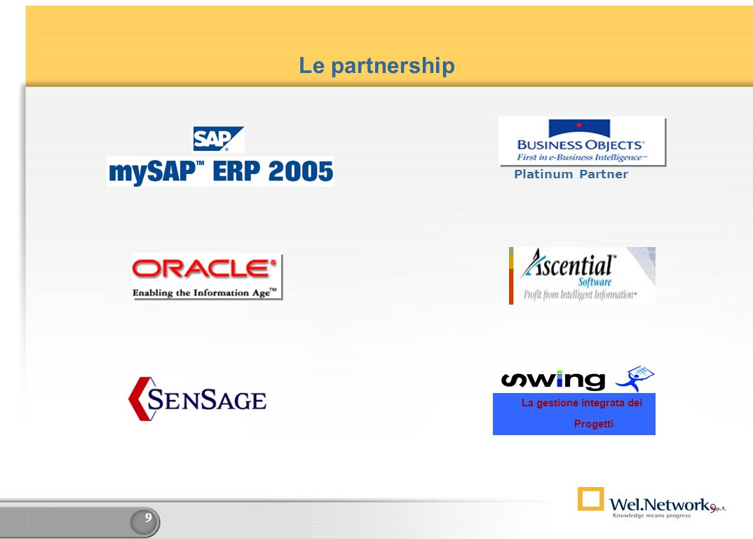 9 9 Le partnership Platinum Partner La gestione integrata dei Progetti 9